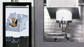 With the ProtectLine software solution, a digital twin always runs ahead of the physical machine in real time in every operating mode. In the case of a crash, the machining center is stopped in a controlled manner and thus preventively protects against collisions. Large and cost-intensive machine damage and production downtimes can be reliably avoided with ProtectLine.